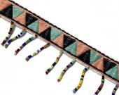 Ethnic Folk Upholstery Embroidered Fringe Tassels Ribbon Trim