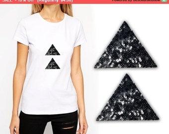 SALE 2 PCS Iron On Triangle Patch Applique for Fashion Embellishments