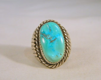 Native American Huge Turquoise Ring / Vintage Men's Indian Sterling Silver Ring / Blue Turquoise Southwestern Heavy Big Ring Size 10.5