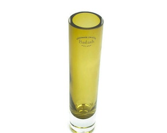 Vintage Badash Crystal Bud Vase Handmade Poland Olive Green Mouth Blown
