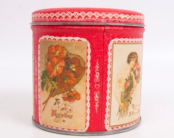Vintage Valentines Day Tin Round Container Red Metal Candy Box Hearts and Lace Heart Trinket Holder
