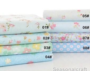 Flower Fabric Aqua Blue Flower Fabric,Shabby Chic Flower Fabric, Aqua Blue Floral Cotton Fabric 1/2 Yard (QT665)