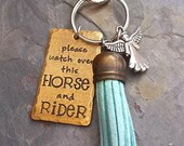 Hand Stamped Rustic Horse Key Chain-Horse Charm Key Chain-Horse Charm Purse Fob