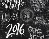 New Year Celebration Overlays ~ Hand-drawn Digital Stamp ~ Star Graphic ~ Scrapbooking Craft Projects ~ 2016 Words and Phrases