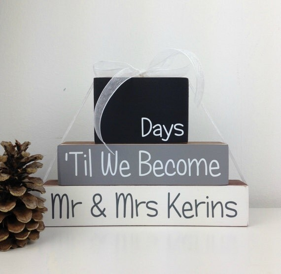 Wedding Countdown Gifts For Bride: Personalised Wedding Countdown Blocks Engagement Gift