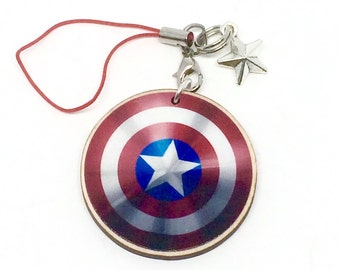 "Captain America's Shield 1.5"" charm keychain Avengers"