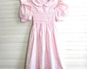 Girls Vintage Dress, Pink Easter Dress, Smocked Dress, Polly Flinders Easter Dress, Pink Cotton Smocked Dress, Girls Size 10 Easter Dresses