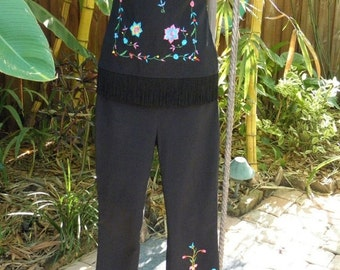 60% OFF Vintage Follies Black Embroidered 2 Piece Stretch Pants Suit