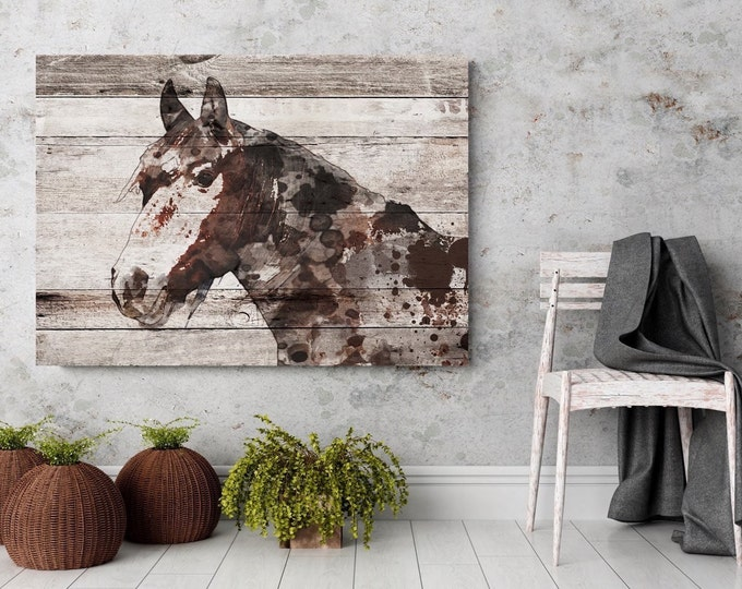 "Jalisco Horse. Extra Large Horse, Unique Horse Wall Decor, Brown Rustic Horse, Large Contemporary Canvas Art Print up to 72"" by Irena Orlov"