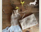 CLEARANCE! Set of 4 Natural 3x5 Mini Burlap Bags -- (Vintage-Style, Boho, Rustic Chic, Small, Gift Wrap, Wedding Favor Bag, Party Favor)