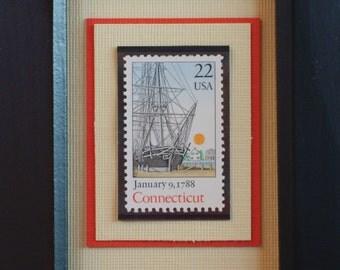 Vintage Framed Postage Stamp - Connecticut- An Original Colony - No. 2340