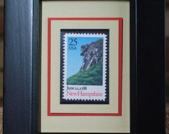 Vintage Framed Postage Stamp - New Hampshire - An Original Colony - No. 2344