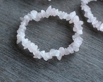 Rose Quartz Chip Stretchy String Bracelet B6
