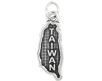 Sterling Silver Map of Taiwan Travel Charm