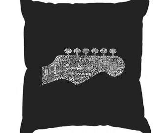Throw Pillow Cover - Word Art - Guitar Head