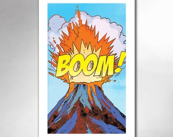 VOLCANO BOOM Comic Book Modern Pop 11x17 Art Print by Rob Osborne