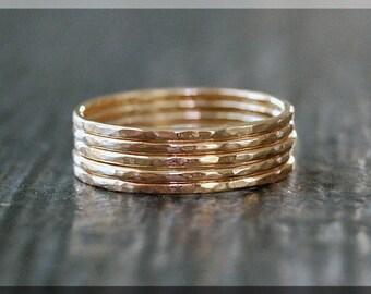 Set of 5 Ultra Thin 14k Gold Stacking Ring, Hammered 14k gold filled ring, Delicate gold filled ring, Dainty stacking ring, Thin gold ring