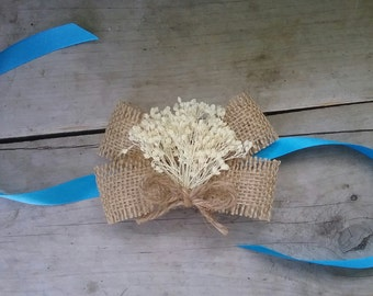 Burlap & Baby's Breath Wrist Wedding Corsage