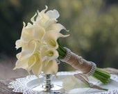 Ivory White Calla Real Touch Lily Bridal Bouquet with brooch
