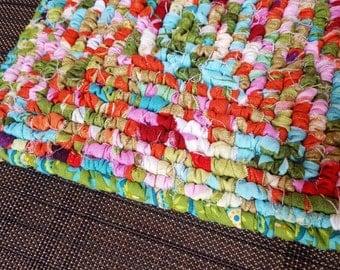 Hand Hooked Fabric Pot Holder, 7x7 Inch Square, Orange, Aqua, Blue, Green, Spring Green,