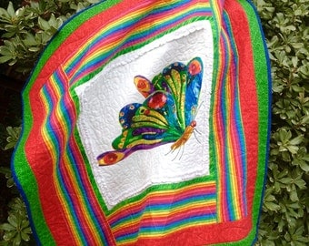Butterfly Quilt, Homemade Quilts,  Rainbow Colored Quilt, 3D Quilt, Toddler Quilts, Baby Quilts, Baby Bedding Sets