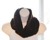 chocolate crochet infinity scarf- discontinued yarn