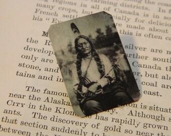 Sitting Bull Lapel Pin  Native American inspired mixed media jewelry