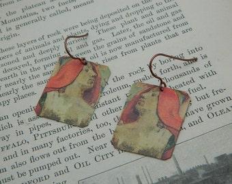 Art earrings Paul Gauguin mixed media jewelry wearable art