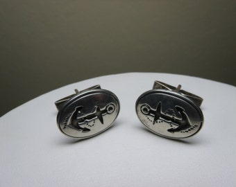 Art Deco Sterling Nautical Anchor Cufflinks Cuff Links Mens Estate Jewelry Silver Signed