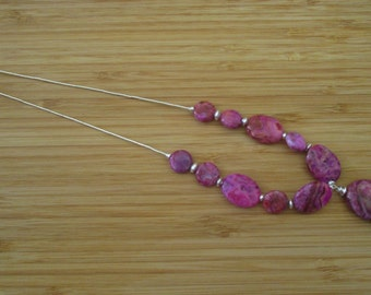stunning pink agate and sterling silver necklace handmade