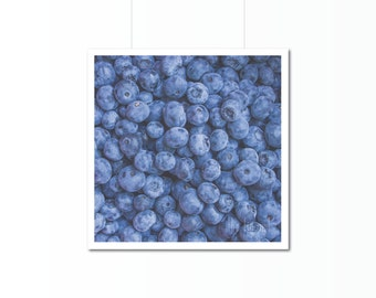Blueberries Print | Kitchen Art Photography | Home Decor | Wall Art | Food Decor | Blue