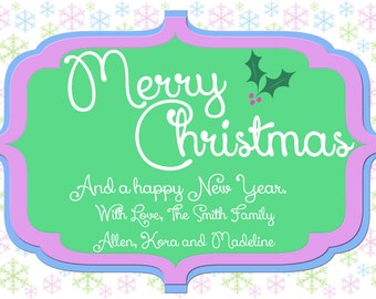 4x6 Simple Merry Christmas Card Happy New Year JPEG file