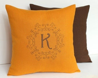 Mustard Monogram pillow Personalized Linen pillow Personalized pillow Family name pillow