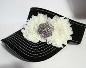 Super Cute Black White Stitched Golf Sun Visor with Light Ivory Chiffon Flowers and a Silver and Rhinestone Accent Golf Accessories Visors