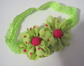 Adorable Lime Green Baby Headband with Lime Green and Pink Polka Dot Flowers and Matching Button Accent Baby Accessories