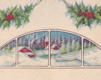 "Ca. 1925 ""Pastoral Scene & Holly"" New Years Greetings Postcard - 993"