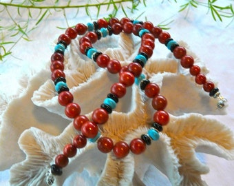 25 Inch Red Sponge Coral, Turquoise, and Black Onyx Necklace with Earrings