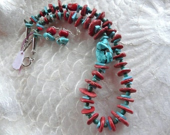 19 Inch Rustic Coral and Turquoise Necklace with Earrings
