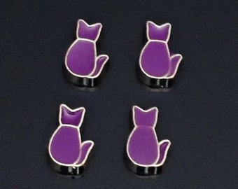 1 pcs Purple Sitting Cat Floating Charm for Living, Memory locket /E2
