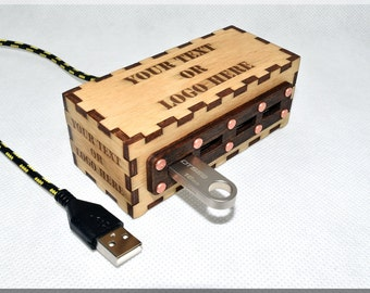 Custom Personalized Wooden 4 ports USB  HUB with Customized engraved  logo and text . Your Text or logo Here.  Design your own gadget.