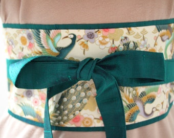 Teal blue greenDupioni silk - Obi Belt - Japanese belt - Figure slimmer  - reversible Cherry Blossoms and peacocks: ivory/gold metallic