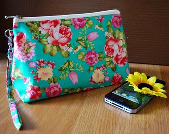 Teal floral zipper bag, turquoise makeup bag, floral zipper bag, flower cosmetic bag, Unique zipper bag, gift for mom, makeup brush pouch