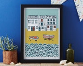 Life by the Sea art print designed by Jessica Hogarth - art print - matted print - ready to frame - colourful digital print on matte card