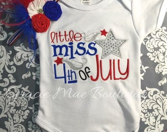 Little Miss 4th of July Embroidered one Piece-Infants and Toddler-4th of July Outfit