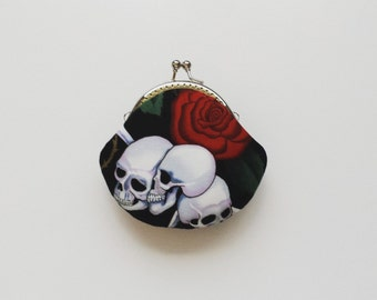 Skulls and Rose - Small Coin Purse - Change Purse - Coin Pouch - Handmade Gift - Stocking Stuffer - Gifts Under 20