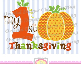 My 1st Thanksgiving,Thanksgiving Pumpkin SVG, Thanksgiving Silhouette Cut Files, Cricut Cut Files DGCUT T1 -Personal and Commercial Use