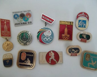 Set of 12 pin badges on the sport theme - Olympic Games 1980 in Moscow. Made in the USSR.