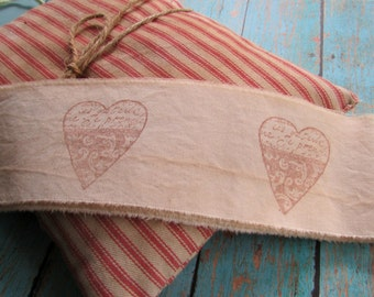 Rustic Heart Hand Stamped Tea Dyed Muslin Trim, Vintage Inspired, Hand Frayed, Hand Stamped, Embellishment, Rustic Wedding, Holiday Trim
