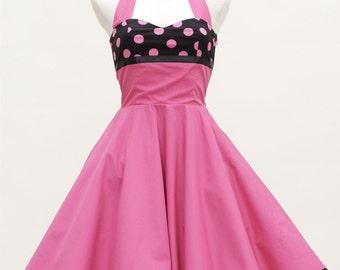 50's vintage dress full skirt Dots pink black custom tailor made after your measurements