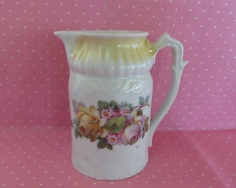 Small Vintage Pitcher, RCW Bavaria Porcelain, Vintage Creamer, China Pitcher with Yellow and Pink Roses, Cottage Decor, Yellow Lustre